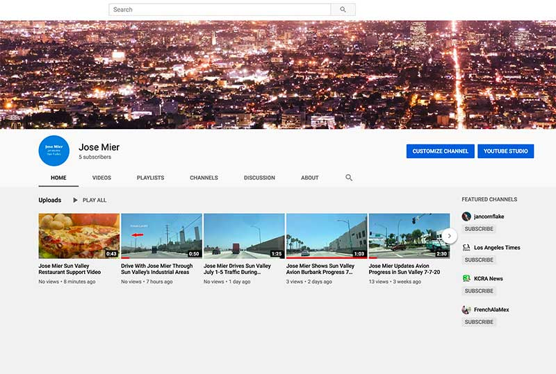 Screen shot of Jose Mier Sun Valley Youtube channel