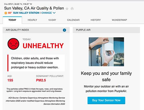 Jose Mier screenshot of Sun Valley air quality chart
