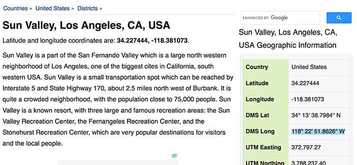 sun valley jose mier geo coordinates