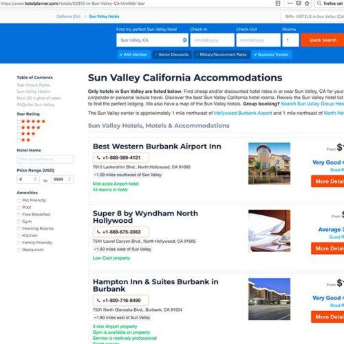 Hotelplanner website Sun Valley by Jose Mier