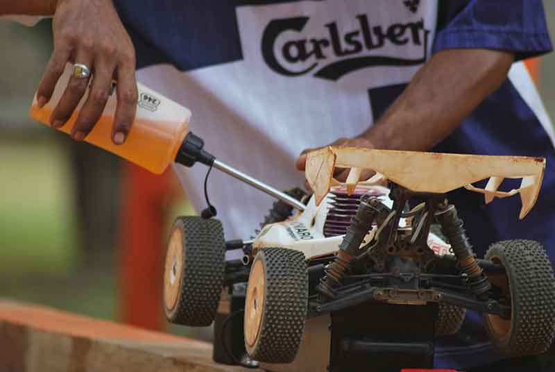 Jose Mier fueling an RC car in Sun Valley, CA
